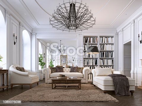 Luxury classic interior of living room and dining room with white furniture and metal chandeliers. 3d illustration