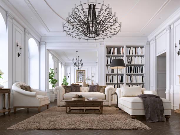 luksusowe klasyczne wnętrze salonu i jadalni z białymi meblami i metalowymi żyrandolami. - luksus zdjęcia i obrazy z banku zdjęć
