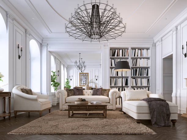Luxury classic interior of living room and dining room with white furniture and metal chandeliers. Luxury classic interior of living room and dining room with white furniture and metal chandeliers. 3d illustration grace stock pictures, royalty-free photos & images