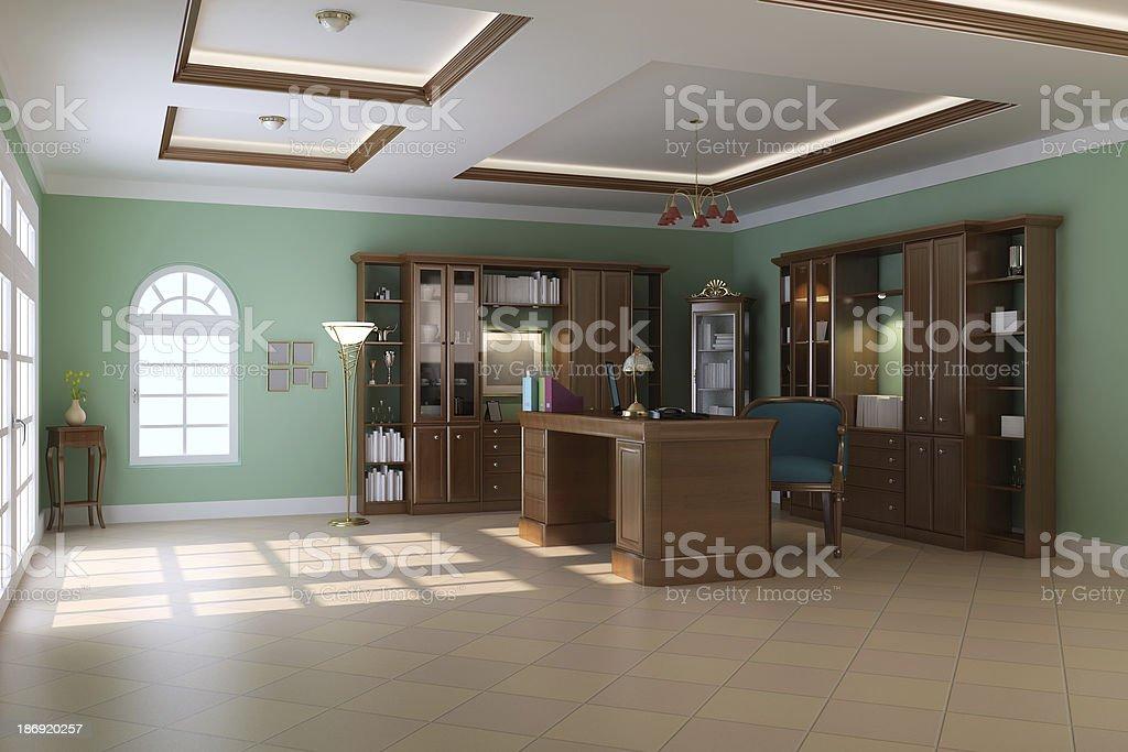 luxury classic study room stock photo