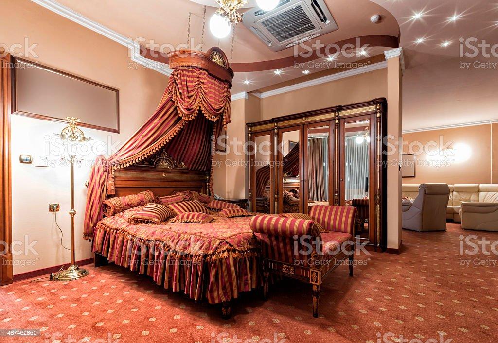 Luxury classic style bedroom interior stock photo