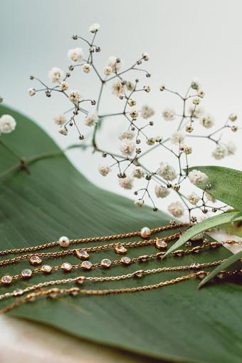 Jewelry set on a leaf