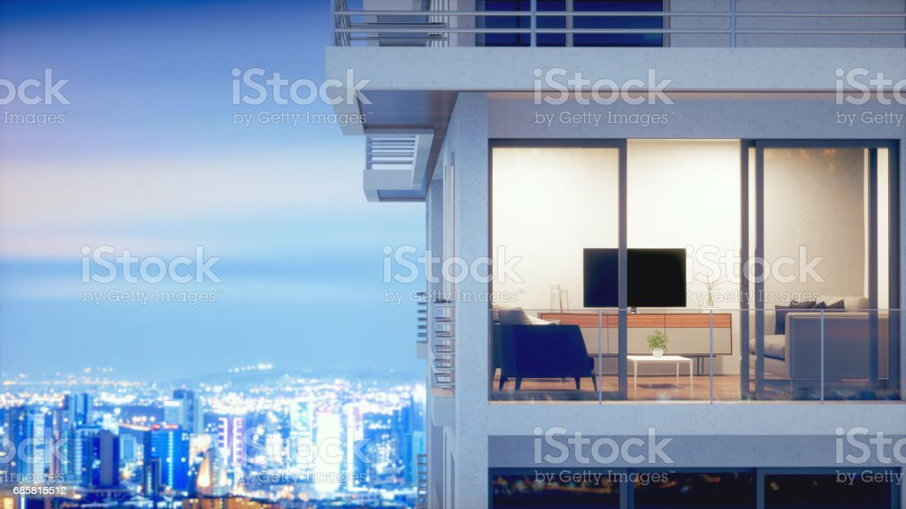 Luxury Condo With Panoramic Cityscape At Night stock photo