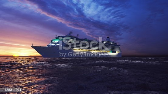 Luxury cruise ship sailing from the port at sunrise across the ocean.