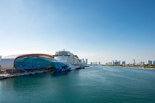 Luxury cruise ships in the Caribbean sea