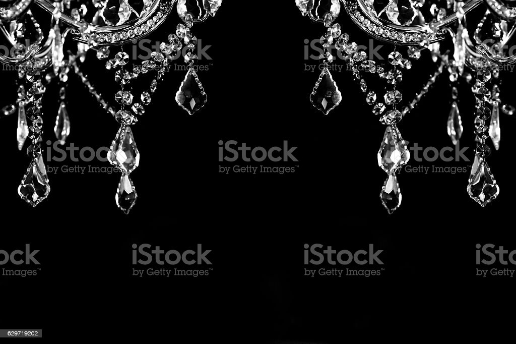 luxury crystal strass lamp white over black background stock photo
