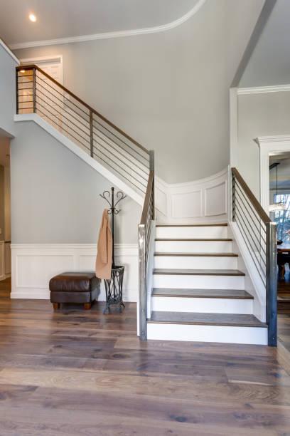 Luxury custom built home interior stock photo