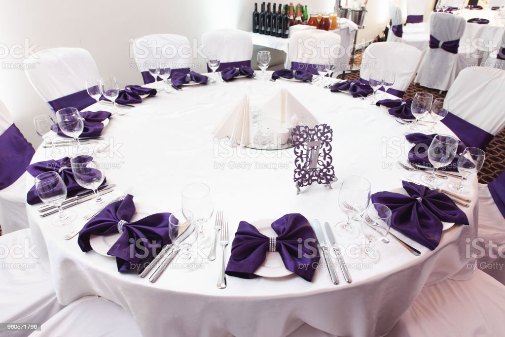 luxury decorated table for guests for a wedding in the restaurant stock photo