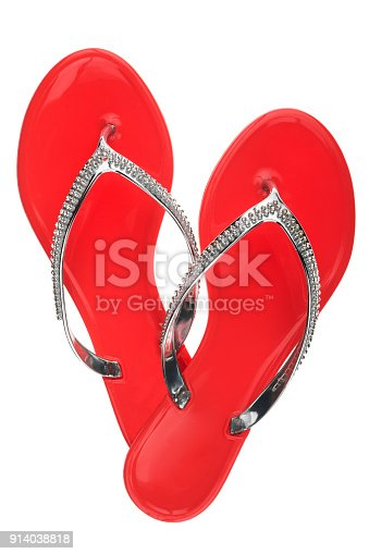 955947208 istock photo Luxury, decorated with rhinestone red beach flip flops, isolated 914038818