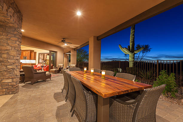 Luxury Desert Home Patio stock photo