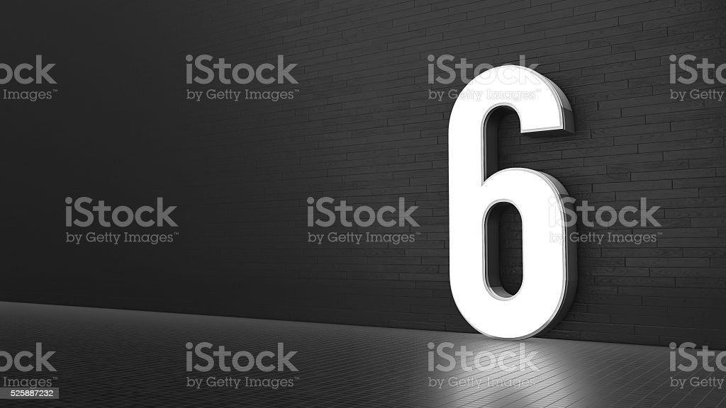 Luxury Design 3d number 6 with floor and wall stock photo