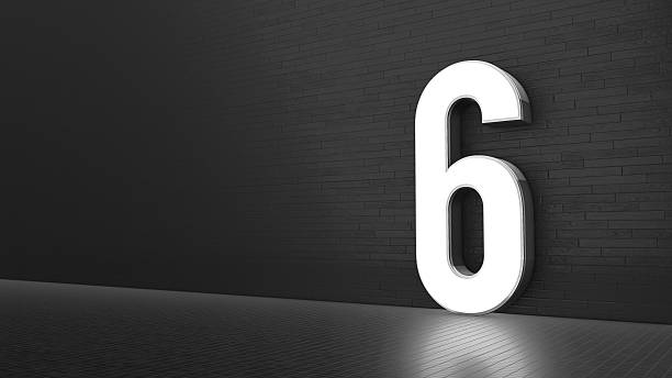 luxury design 3d number 6 with floor and wall - number 6 stock photos and pictures