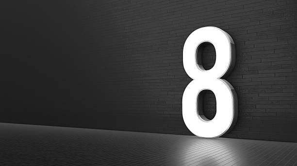 luxury design 3d number 8 with floor and wall - number 8 stock pictures, royalty-free photos & images