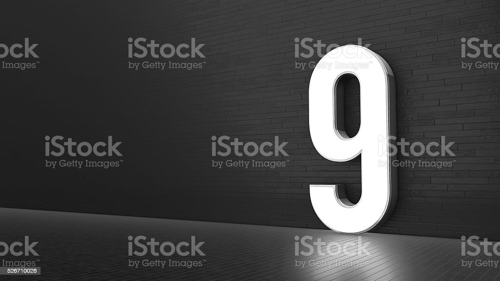 Luxury Design 3d number 9 with floor and wall stock photo