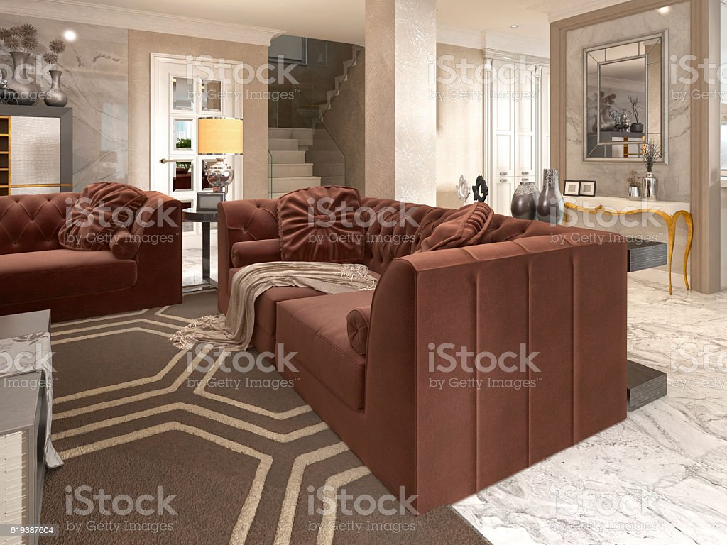 Luxury designer apartment-studio in art Deco style. stock photo