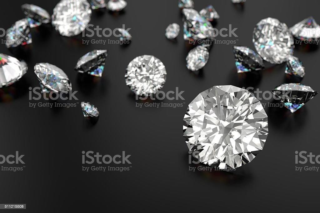 Luxury diamonds on black background stock photo