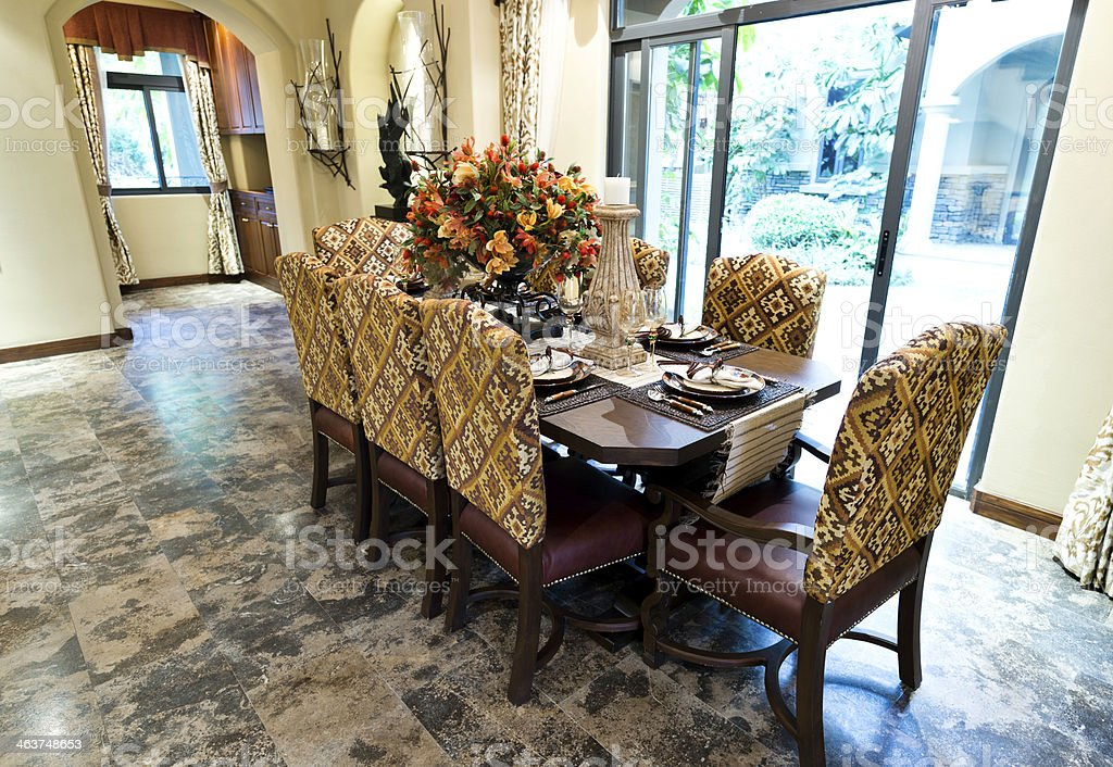 Luxury dining room in a modern home.