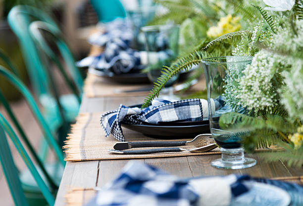 luxus esszimmer - outdoor esszimmer stock-fotos und bilder
