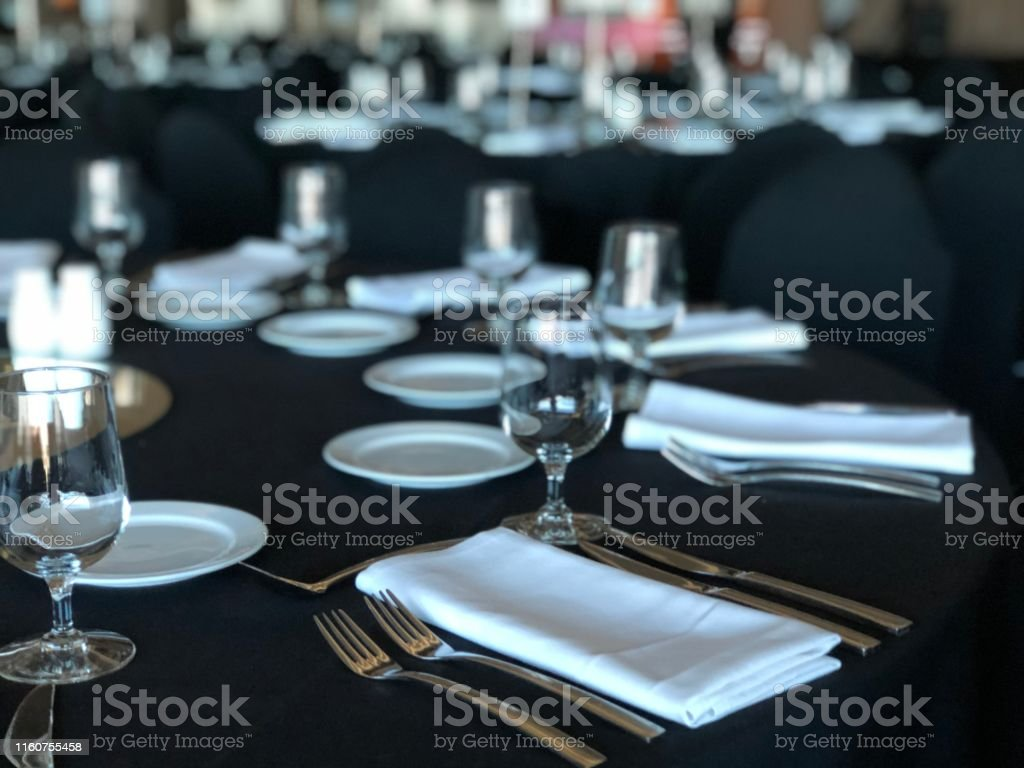 Luxury dinner setting on black, unrecognisable and close up