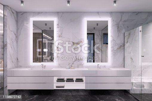 Luxury bathroom interior with marble walls, lights and large mirrors. shelf, decorative ceiling lights and glass door. bathtub and large windows. render