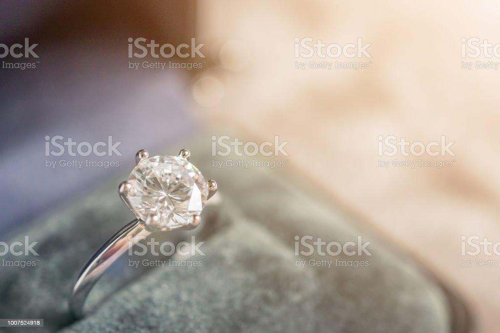 luxury engagement Diamond ring in jewelry gift box stock photo
