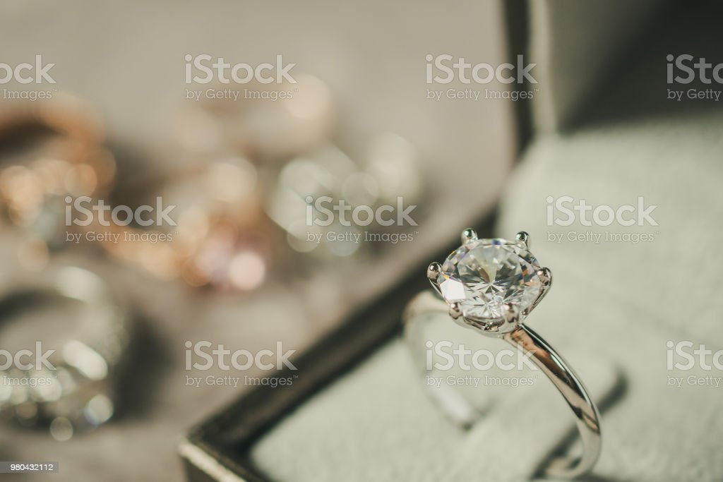 luxury engagement Diamond ring in jewelry gift box stock photo