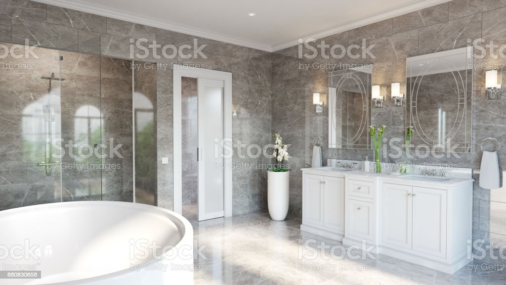 Luxury Ensuite For Master Bedroom Stock Photo - Download ...