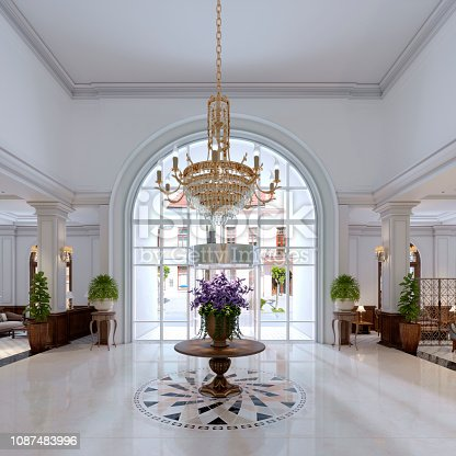 luxury entrance in classic hotel with a large bouquet of flowers and a large golden chandelier. 3d rendering