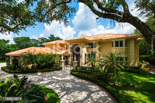 Modern Mediterranean architecture style home in the historic City of Coral Gables located in Miami.
