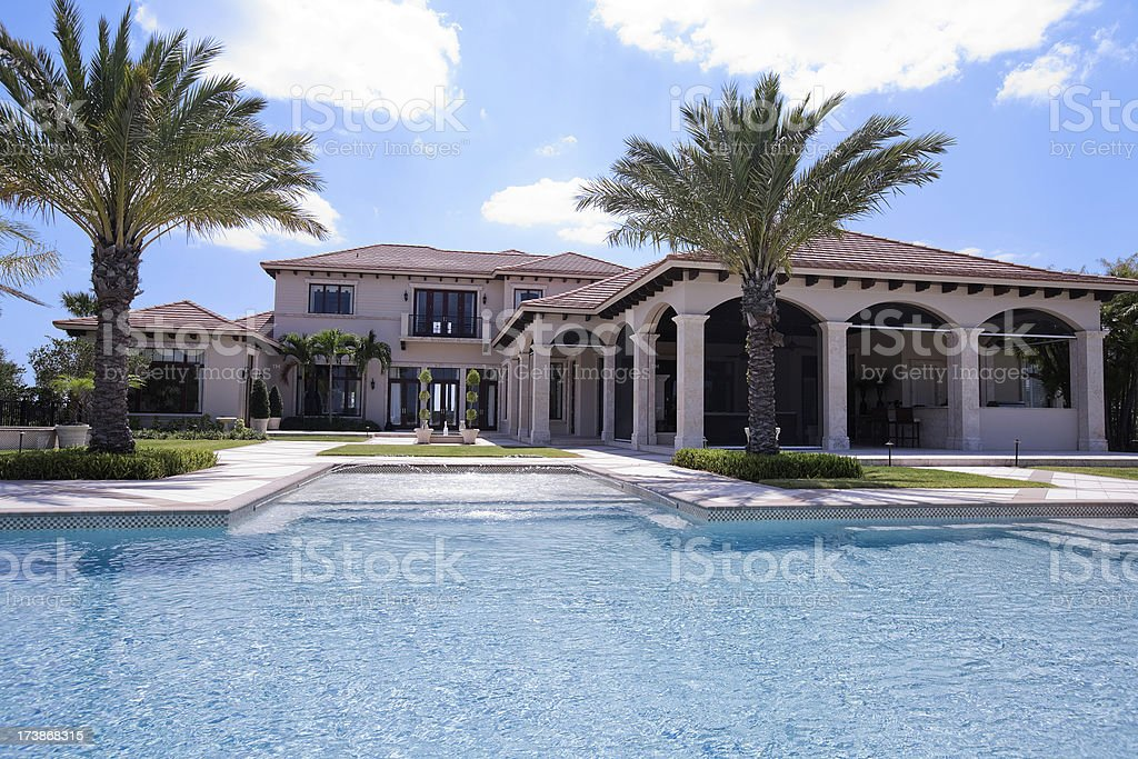 Luxury Estate Home with huge backyard swimming pool private retreat royalty-free stock photo