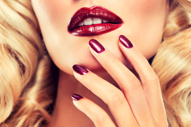 Luxury fashion style. Manicure, cosmetic and make-up. stock photo
