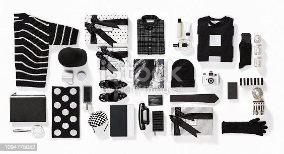 Luxury fashionable clothing and stationery items flat lay on white background