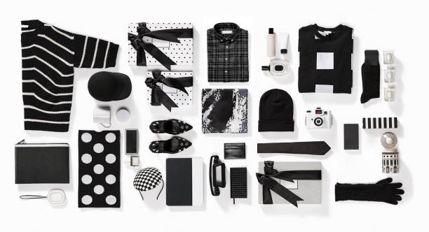 luxury fashionable clothing and stationery items flat lay on white background - oggetti personali foto e immagini stock