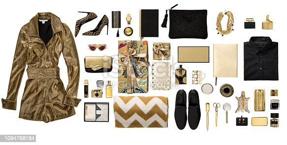 Luxury fashionable gold clothing and stationery items flat lay on white background (with clipping path)