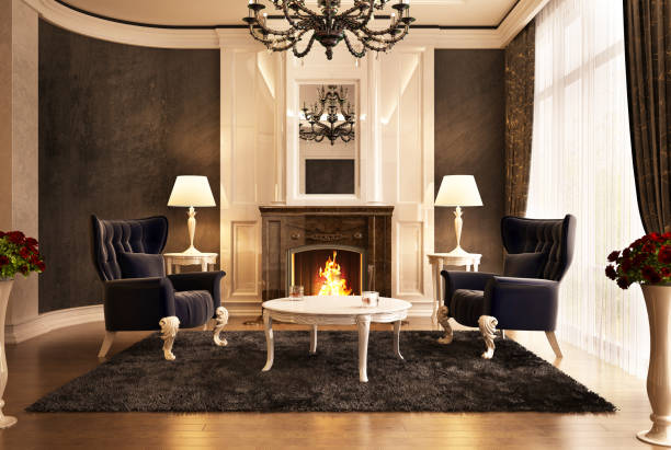 Luxury fireplace room design in big house Fireplace room design in big beautiful house classical style stock pictures, royalty-free photos & images