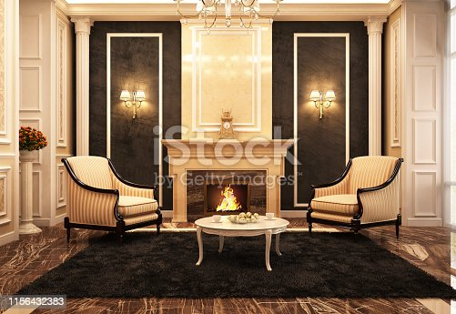 Beautiful fireplace room in classic style