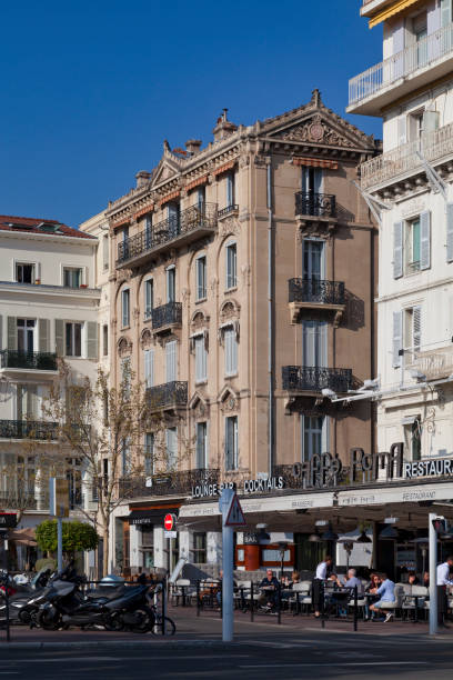 Luxury freestone building in Cannes stock photo
