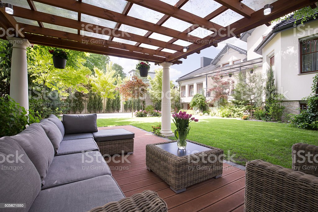 Luxury garden furniture stock photo
