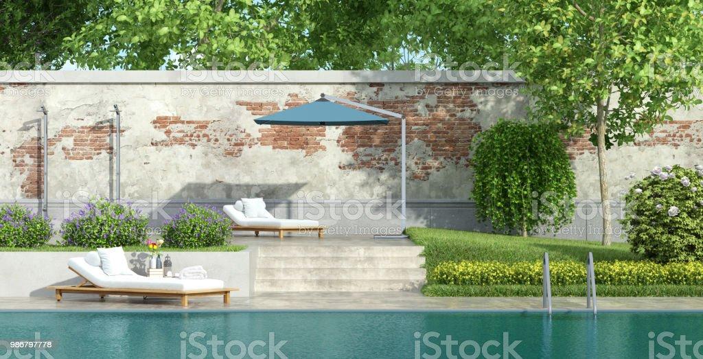 Photo libre de droit de Jardin De Luxe Avec Piscine banque d ...