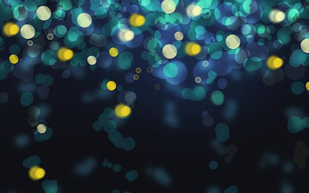 Luxury glowing falling blue light Bokeh texture background stock photo