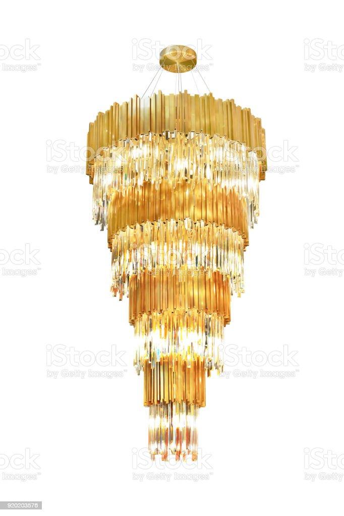 Luxury gold chandelier stock photo