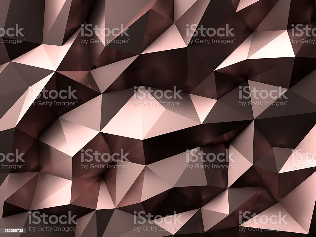 Luxury Gold Rose Abstract Polygonal Background 3D Rendering stock photo