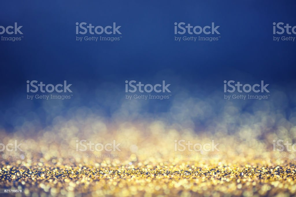 luxury golden and blue bokeh background stock photo