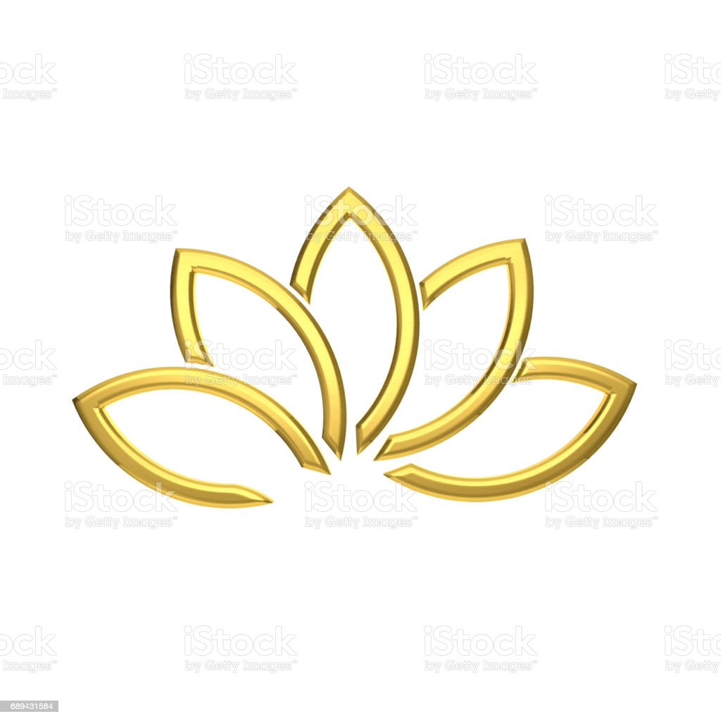 Luxury Golden Lotus Flower. 3D Rendering Illustration stock photo
