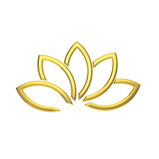 luxury golden lotus flower. 3d rendering illustration - logo stock photos and pictures