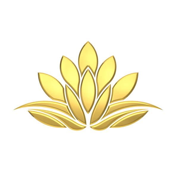 Luxury Golden Lotus Flower. 3D Rendering Illustration stock photo