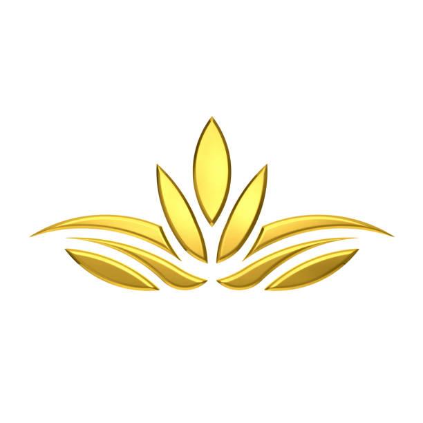 luxus golden lotusblume. 3d-rendering illustration - lotus zeichnung stock-fotos und bilder