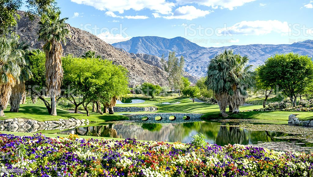 A luxury golf course with flowers and a bridge stock photo