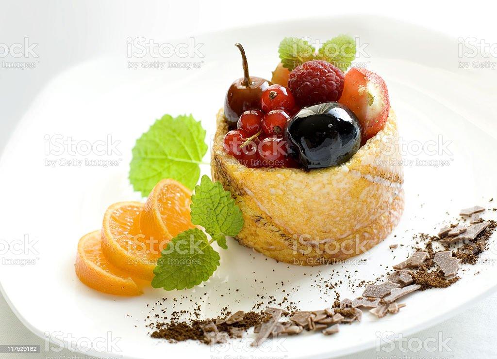 Luxury gourmet French fruitcake dish royalty-free stock photo
