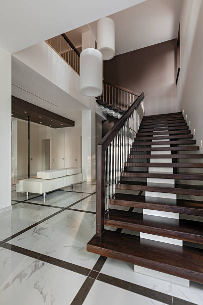 Luxury hall interior with staircase stock photo
